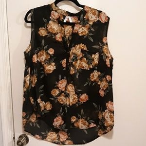 Live 4 truth black with floral design sleeveless